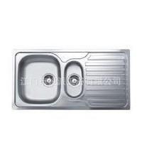 11050广东不锈钢水槽 带板水槽 一大一小不锈钢水槽下水